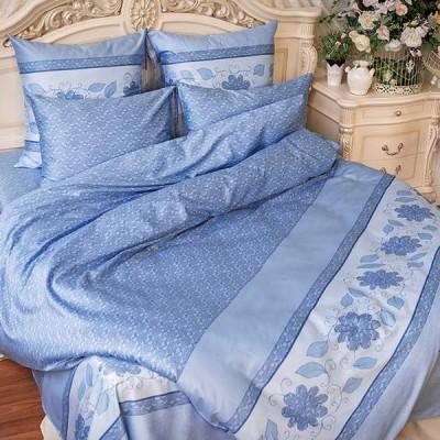 Постельное белье Balimena мако-сатин CL-8241 Blue (размер 1,5-спальный, нав.70х70 см)