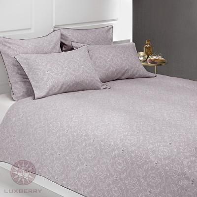 Комплект постельного белья Bovi Medalion баклажан/серый (размер 1,5-спальный)