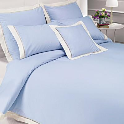Комплект постельного белья Bovi Весенний сад голубой/экрю (размер 1,5-спальный)