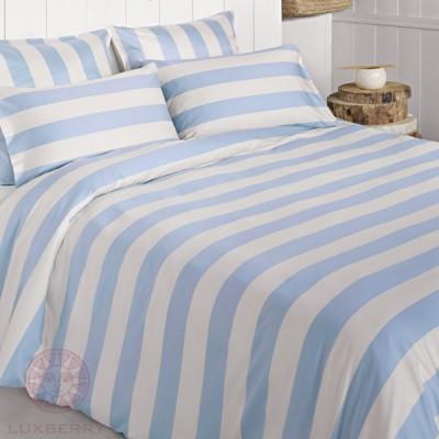 Комплект постельного белья Bovi Весенний сад голубой/экрю (размер евро)