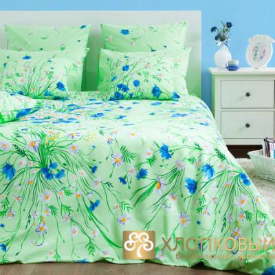Постельное белье Хлопковый край бязь Есения зеленый (размер 2-спальный)