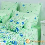 Постельное белье Хлопковый край бязь Есения зеленый (размер 1,5-спальный)