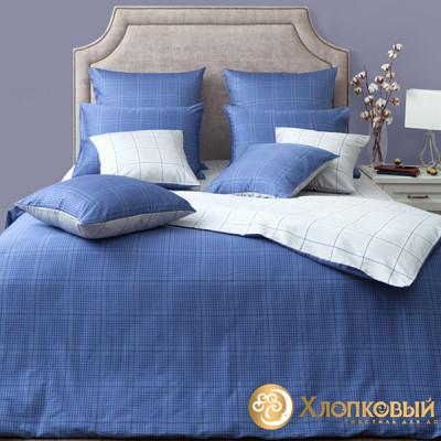 Постельное белье Хлопковый край сатин Генри сапфир (размер 1,5-спальный)