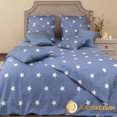 Постельное белье Хлопковый край сатин Монамур деним (размер 2-спальный)