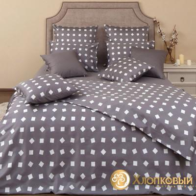 Постельное белье Хлопковый край сатин Тет-а-тет графит (размер 2-спальный)