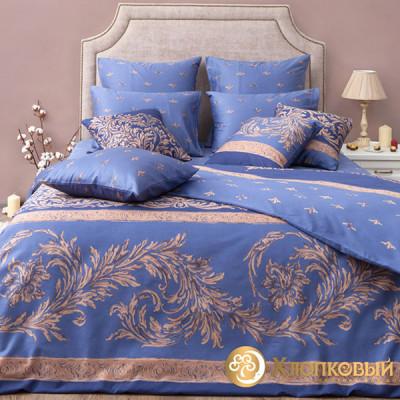Постельное белье Хлопковый край сатин Верона индиго (размер 1,5-спальный)