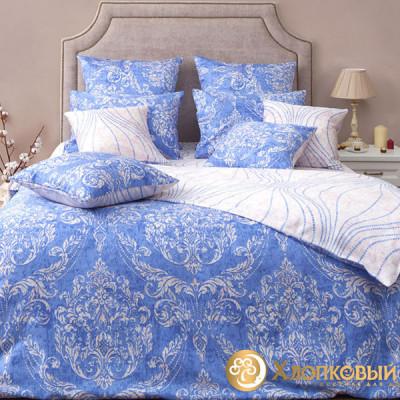 Постельное белье Хлопковый край сатин Версаль небесный (размер 1,5-спальный)
