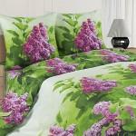 Постельное белье Ecotex Poetica Сирень на резинке (размер 2-спальный)