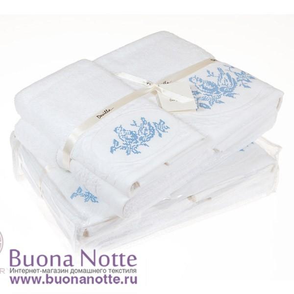 Комплект из 3-х полотенец Devilla Птички белый/голубой (30х50, 50х100, 70х140 см)