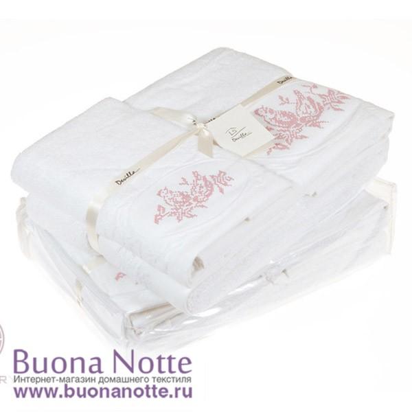 Полотенце с вышивкой Devilla Птички белый/розовый (50х100 см)