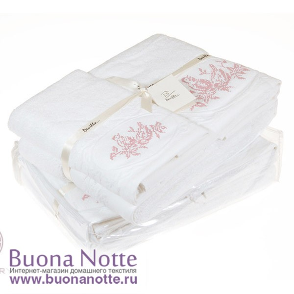 Комплект из 3-х полотенец Devilla Птички белый/розовый (30х50, 50х100, 70х140 см)