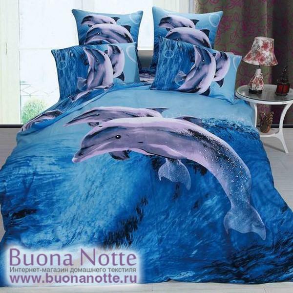 Постельное белье Stile Tex 3D Дельфины (размер Евро Плюс)