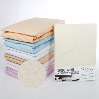 Простыня на резинке махровая молочная (размер 160х200)